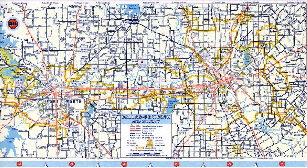 1958 Dallas County Road Map. Click for large, detailed image.